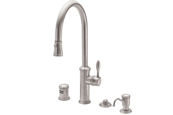 new kitchen faucet kohler california faucets proudly introduces the davoli pulldown kitchen faucet part of companys new line the collection series offers faucets new offers fresh spin on